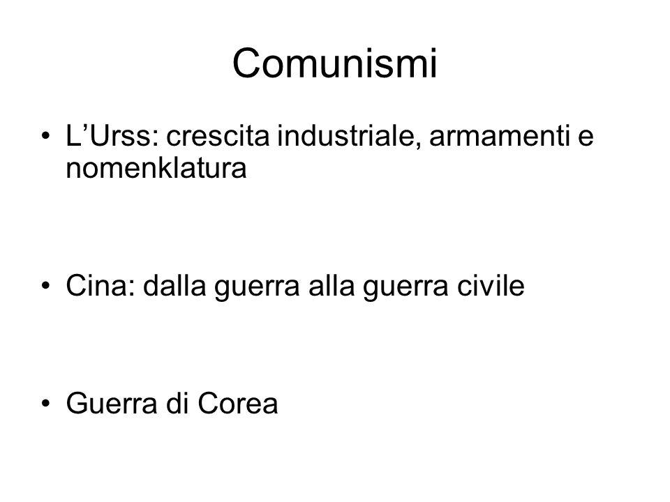 Comunismi LUrss: crescita industriale, armamenti e nomenklatura Cina: dalla guerra alla guerra civile Guerra di Corea