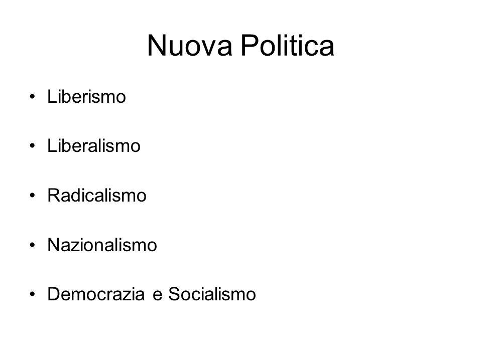 Nuova Politica Liberismo Liberalismo Radicalismo Nazionalismo Democrazia e Socialismo