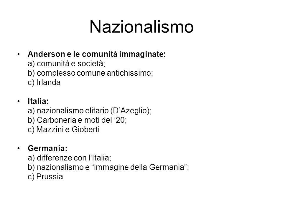 Nazionalismo Anderson e le comunità immaginate: a) comunità e società; b) complesso comune antichissimo; c) Irlanda Italia: a) nazionalismo elitario (