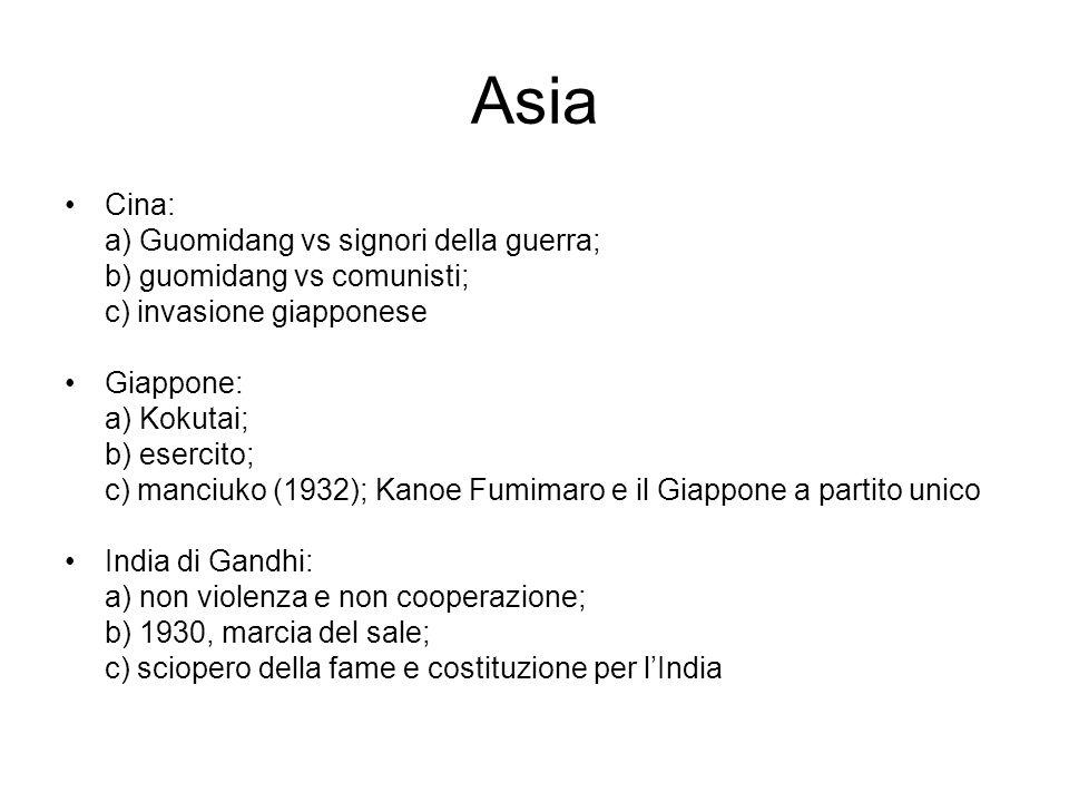 Asia Cina: a) Guomidang vs signori della guerra; b) guomidang vs comunisti; c) invasione giapponese Giappone: a) Kokutai; b) esercito; c) manciuko (19