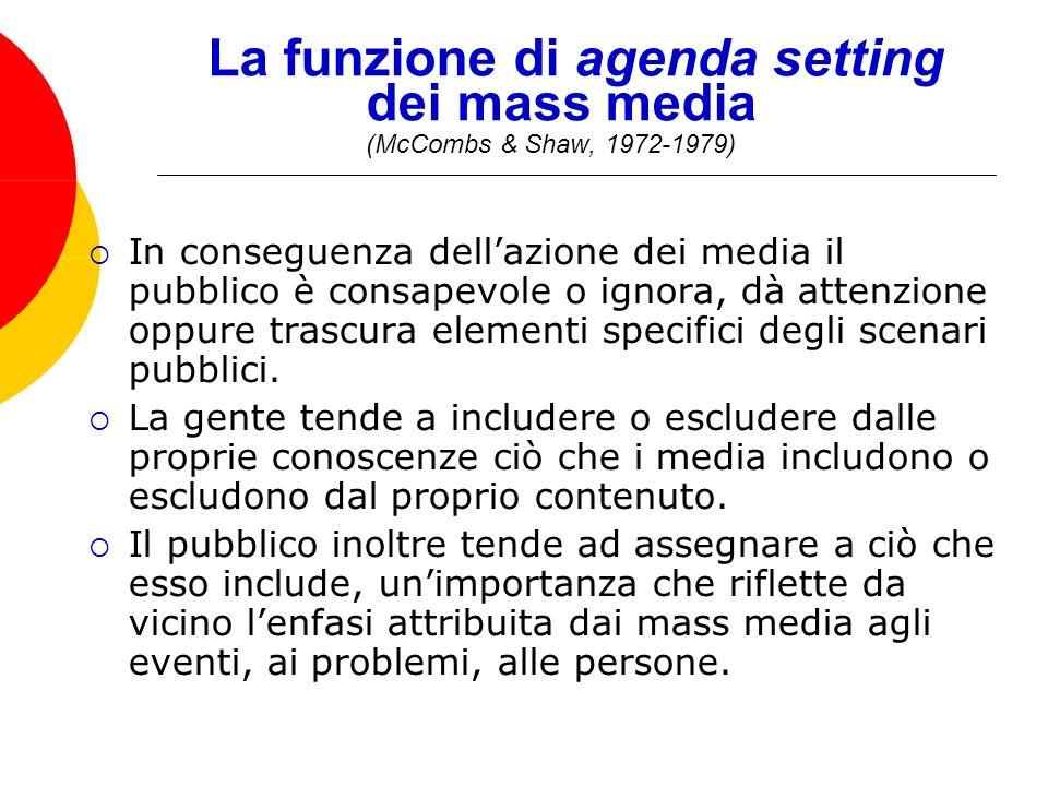 La funzione di agenda setting dei mass media (McCombs & Shaw, 1972-1979) In conseguenza dellazione dei media il pubblico è consapevole o ignora, dà attenzione oppure trascura elementi specifici degli scenari pubblici.