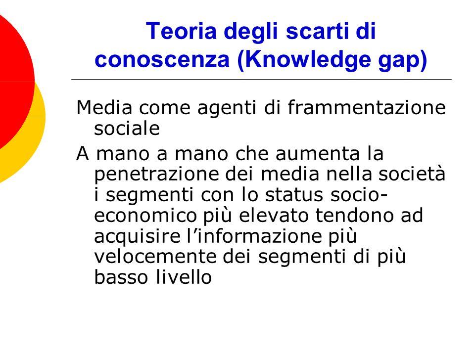 Teoria degli scarti di conoscenza (Knowledge gap) Media come agenti di frammentazione sociale A mano a mano che aumenta la penetrazione dei media nella società i segmenti con lo status socio- economico più elevato tendono ad acquisire linformazione più velocemente dei segmenti di più basso livello