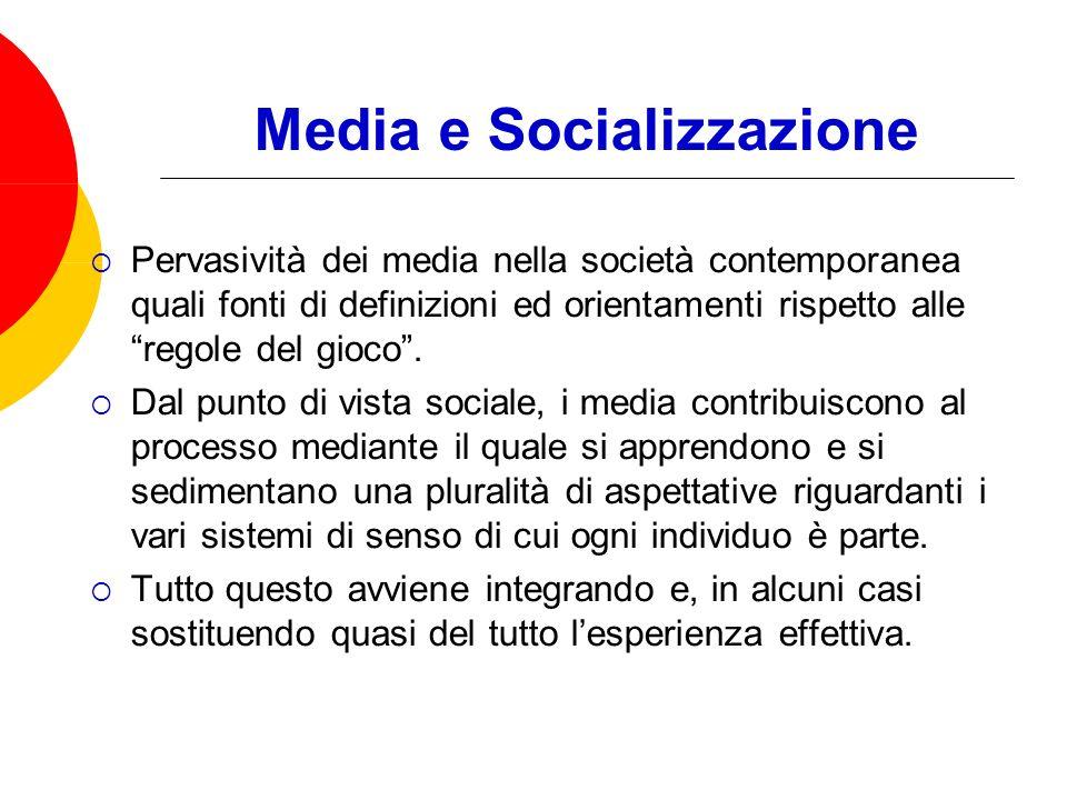 Media e Socializzazione Pervasività dei media nella società contemporanea quali fonti di definizioni ed orientamenti rispetto alle regole del gioco.