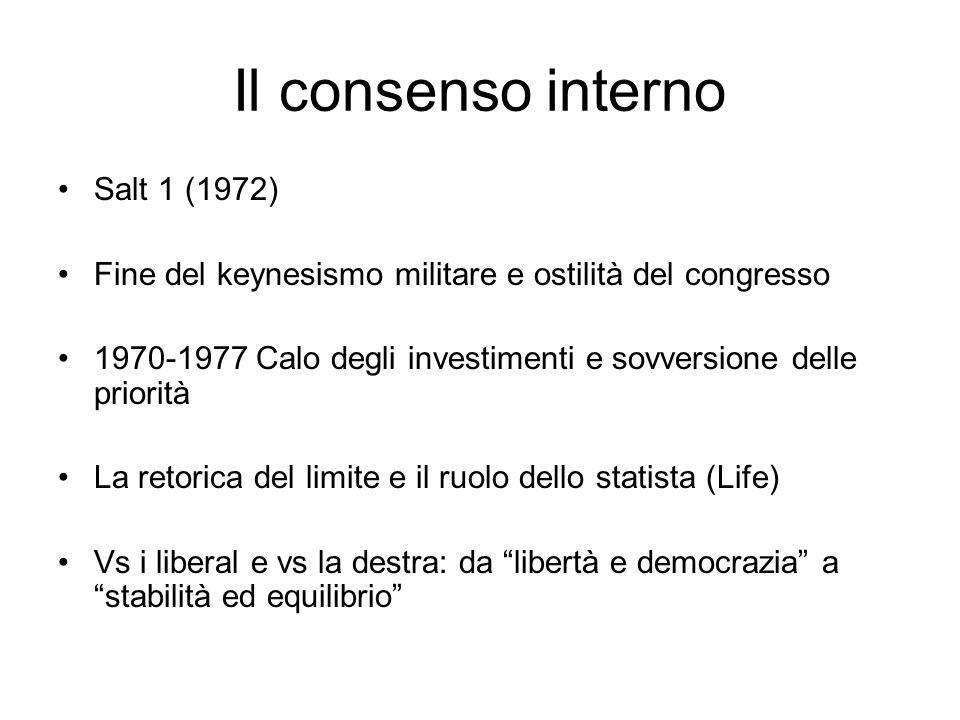 Il consenso interno Salt 1 (1972) Fine del keynesismo militare e ostilità del congresso 1970-1977 Calo degli investimenti e sovversione delle priorità La retorica del limite e il ruolo dello statista (Life) Vs i liberal e vs la destra: da libertà e democrazia a stabilità ed equilibrio