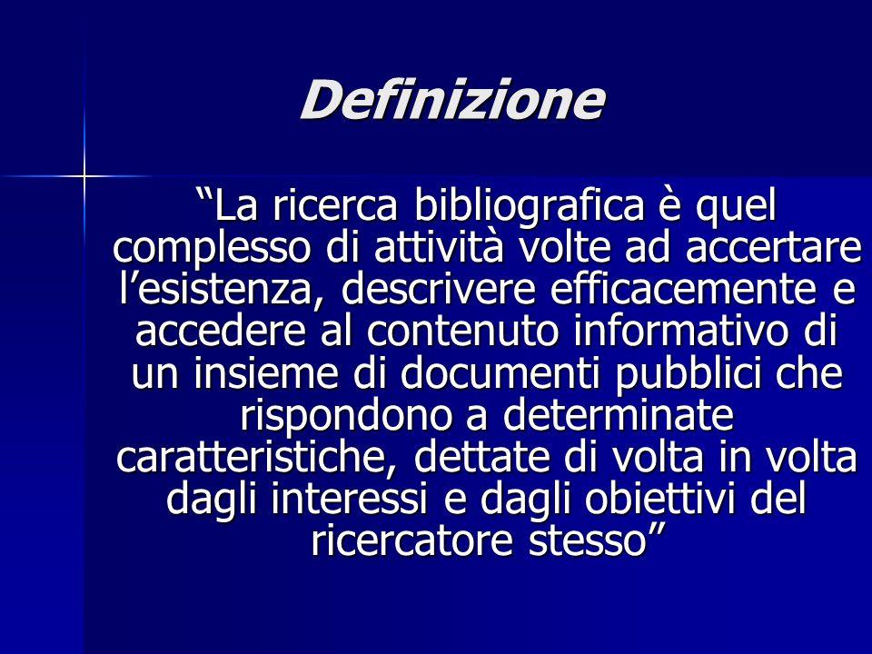 Definizione La ricerca bibliografica è quel complesso di attività volte ad accertare lesistenza, descrivere efficacemente e accedere al contenuto info