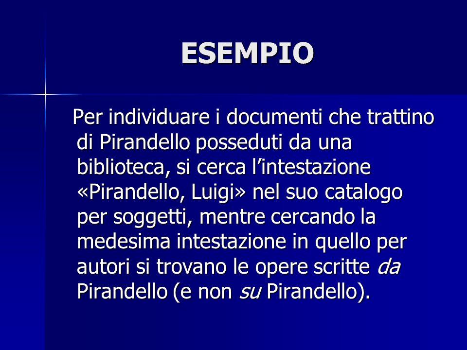 ESEMPIO Per individuare i documenti che trattino di Pirandello posseduti da una biblioteca, si cerca lintestazione «Pirandello, Luigi» nel suo catalog