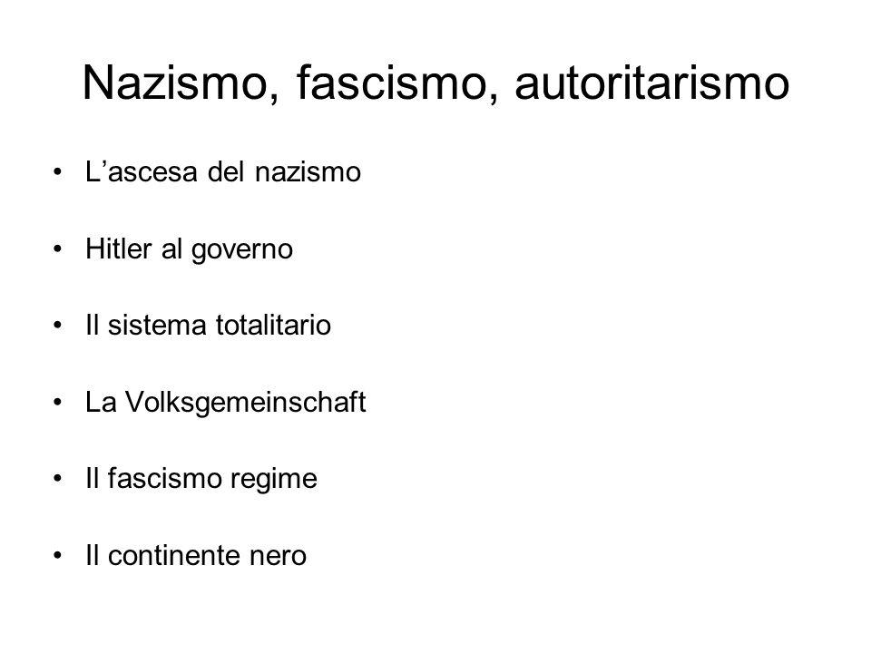 Nazismo, fascismo, autoritarismo Lascesa del nazismo Hitler al governo Il sistema totalitario La Volksgemeinschaft Il fascismo regime Il continente ne