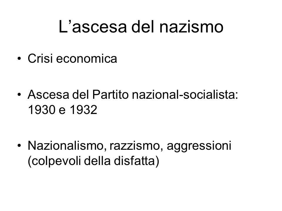 Lascesa del nazismo Crisi economica Ascesa del Partito nazional-socialista: 1930 e 1932 Nazionalismo, razzismo, aggressioni (colpevoli della disfatta)
