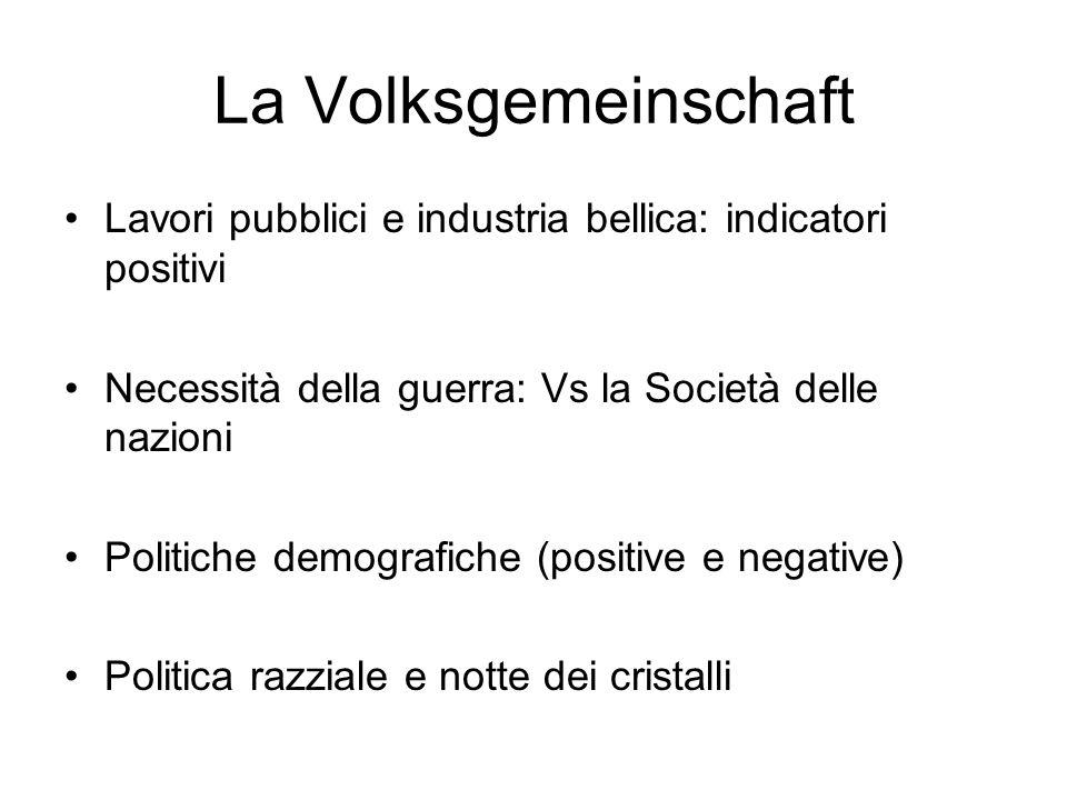 La Volksgemeinschaft Lavori pubblici e industria bellica: indicatori positivi Necessità della guerra: Vs la Società delle nazioni Politiche demografic