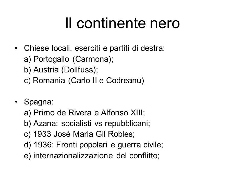 Il continente nero Chiese locali, eserciti e partiti di destra: a) Portogallo (Carmona); b) Austria (Dollfuss); c) Romania (Carlo II e Codreanu) Spagn