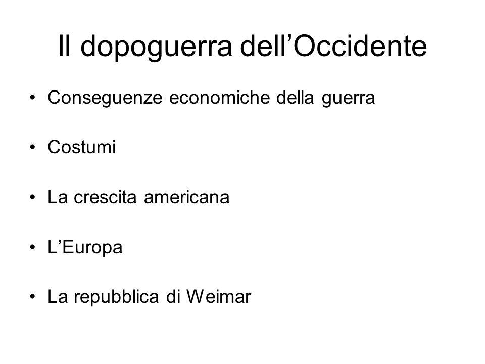 Il dopoguerra dellOccidente Conseguenze economiche della guerra Costumi La crescita americana LEuropa La repubblica di Weimar
