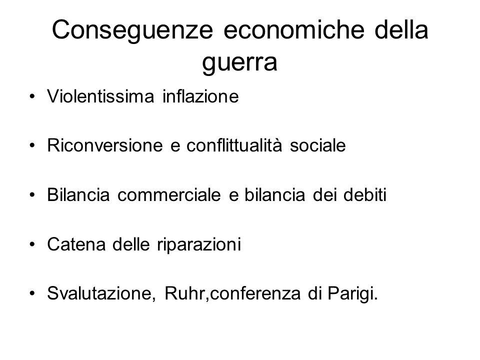 Conseguenze economiche della guerra Violentissima inflazione Riconversione e conflittualità sociale Bilancia commerciale e bilancia dei debiti Catena