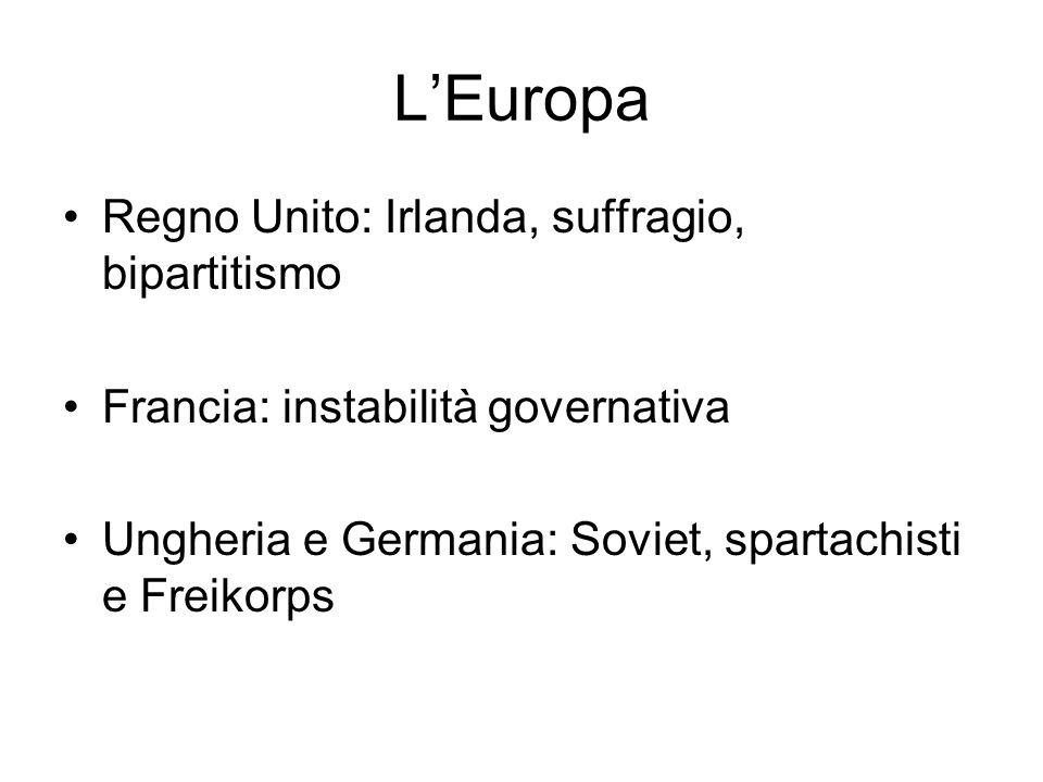 LEuropa Regno Unito: Irlanda, suffragio, bipartitismo Francia: instabilità governativa Ungheria e Germania: Soviet, spartachisti e Freikorps