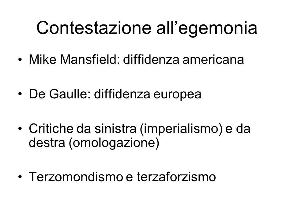 Contestazione allegemonia Mike Mansfield: diffidenza americana De Gaulle: diffidenza europea Critiche da sinistra (imperialismo) e da destra (omologaz
