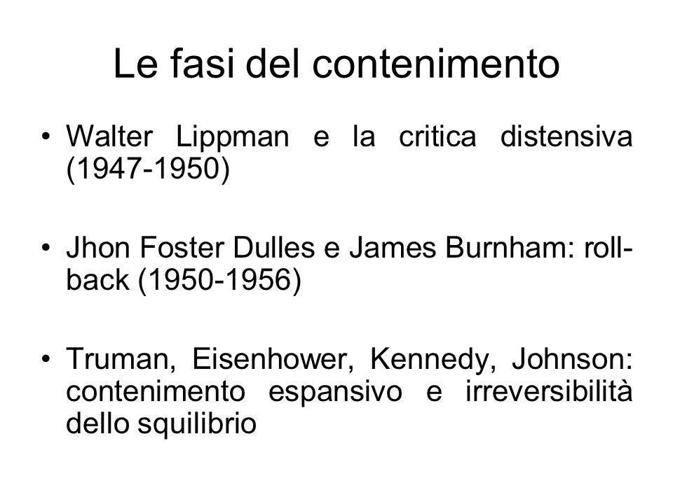 Le fasi del contenimento Walter Lippman e la critica distensiva (1947-1950) Jhon Foster Dulles e James Burnham: roll- back (1950-1956) Truman, Eisenho