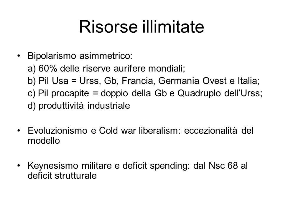 Risorse illimitate Bipolarismo asimmetrico: a) 60% delle riserve aurifere mondiali; b) Pil Usa = Urss, Gb, Francia, Germania Ovest e Italia; c) Pil pr