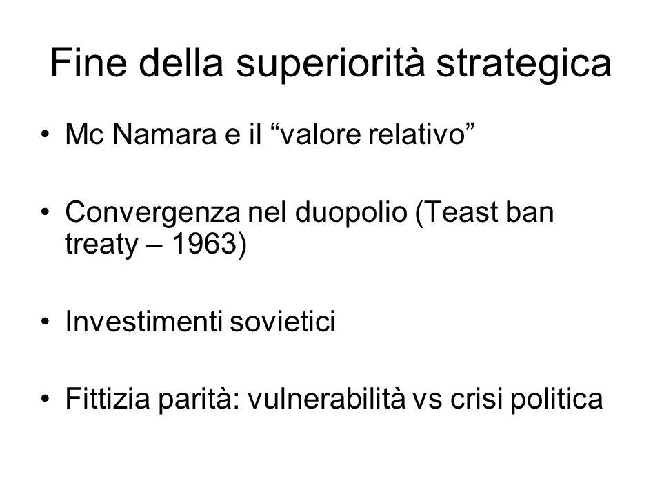 Fine della superiorità strategica Mc Namara e il valore relativo Convergenza nel duopolio (Teast ban treaty – 1963) Investimenti sovietici Fittizia pa