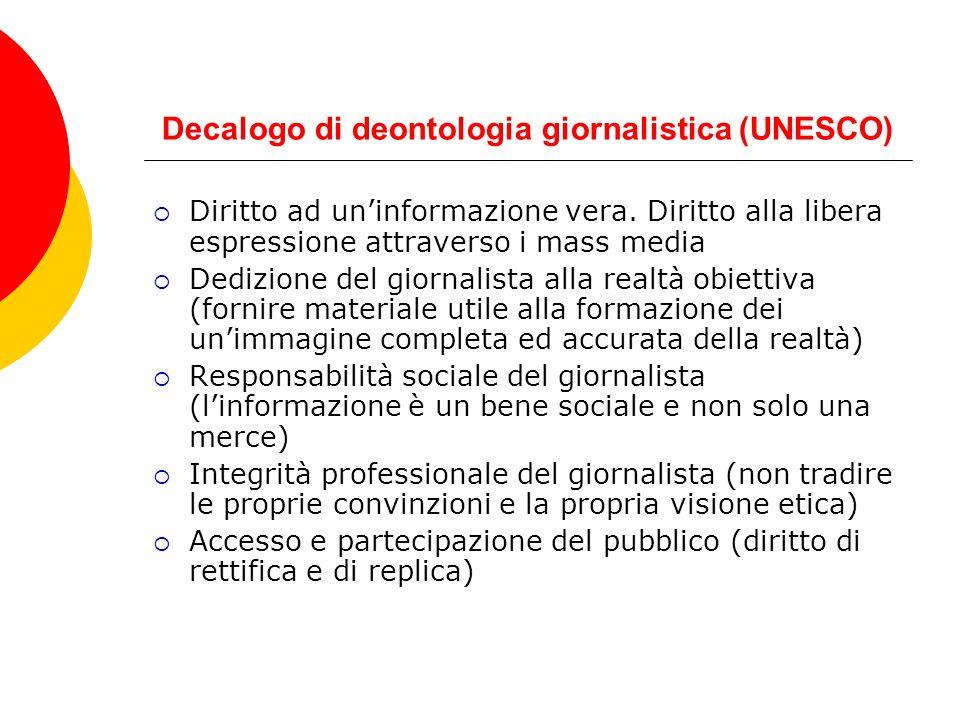 Decalogo di deontologia giornalistica (UNESCO) Diritto ad uninformazione vera. Diritto alla libera espressione attraverso i mass media Dedizione del g