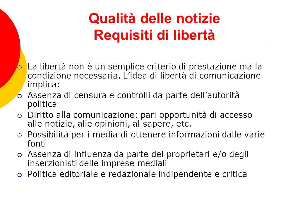 Qualità delle notizie Requisiti di libertà La libertà non è un semplice criterio di prestazione ma la condizione necessaria. Lidea di libertà di comun
