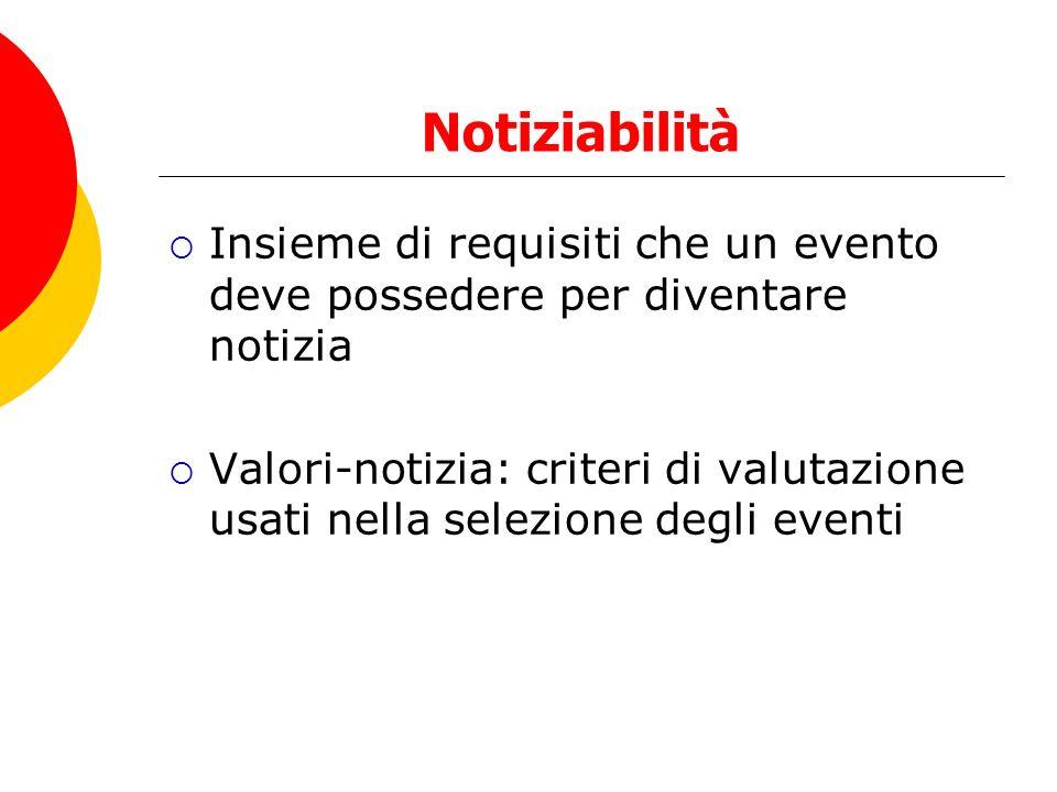 Notiziabilità Insieme di requisiti che un evento deve possedere per diventare notizia Valori-notizia: criteri di valutazione usati nella selezione degli eventi