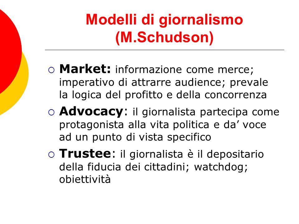 Modelli di giornalismo (M.Schudson) Market: informazione come merce; imperativo di attrarre audience; prevale la logica del profitto e della concorren