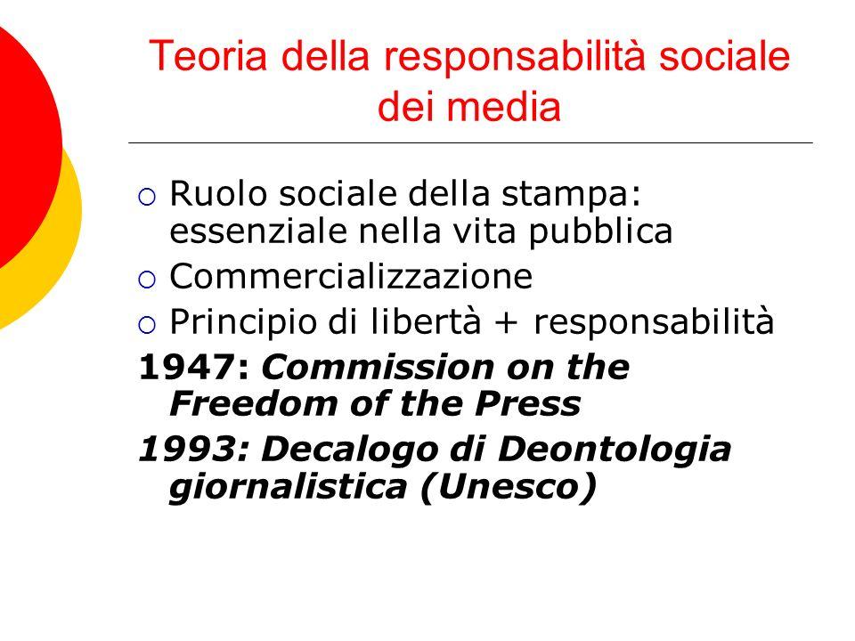 Teoria della responsabilità sociale dei media Ruolo sociale della stampa: essenziale nella vita pubblica Commercializzazione Principio di libertà + responsabilità 1947: Commission on the Freedom of the Press 1993: Decalogo di Deontologia giornalistica (Unesco)