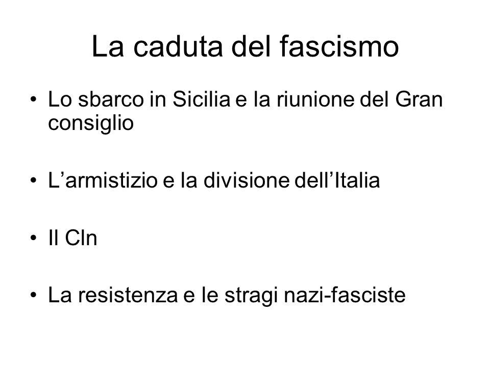 La caduta del fascismo Lo sbarco in Sicilia e la riunione del Gran consiglio Larmistizio e la divisione dellItalia Il Cln La resistenza e le stragi nazi-fasciste