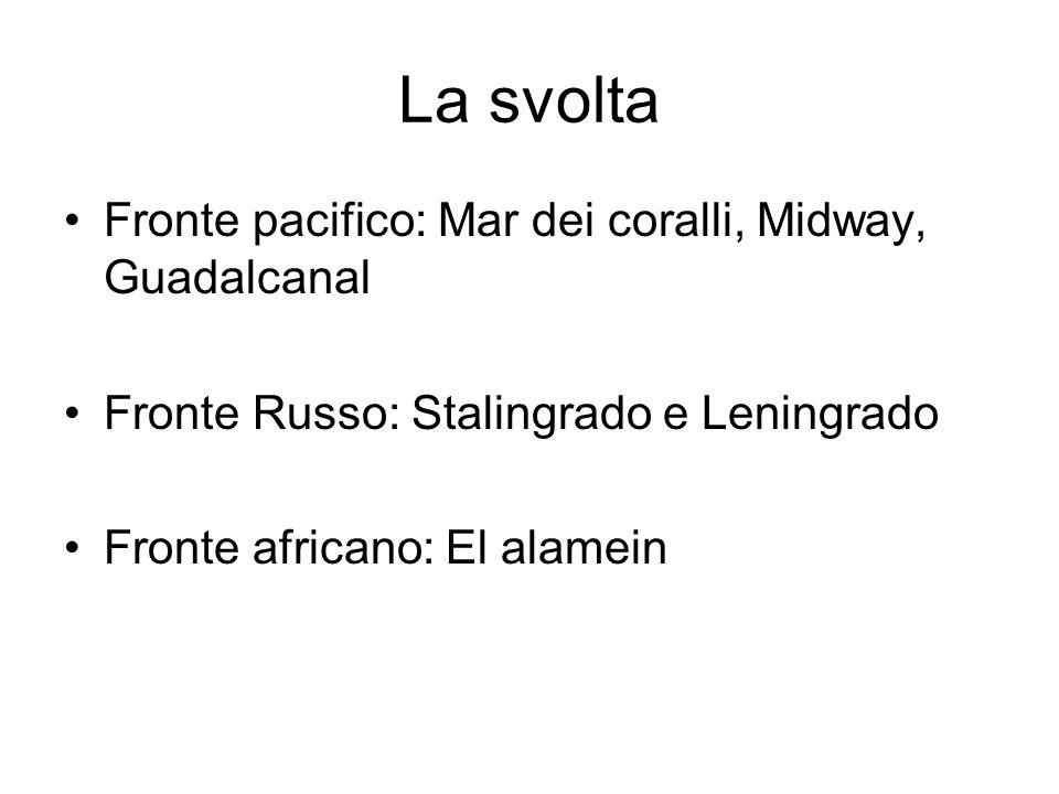 La svolta Fronte pacifico: Mar dei coralli, Midway, Guadalcanal Fronte Russo: Stalingrado e Leningrado Fronte africano: El alamein