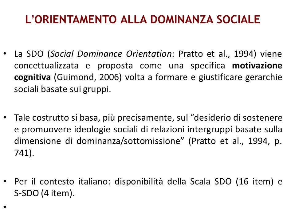 L ORIENTAMENTO ALLA DOMINANZA SOCIALE La SDO (Social Dominance Orientation: Pratto et al., 1994) viene concettualizzata e proposta come una specifica