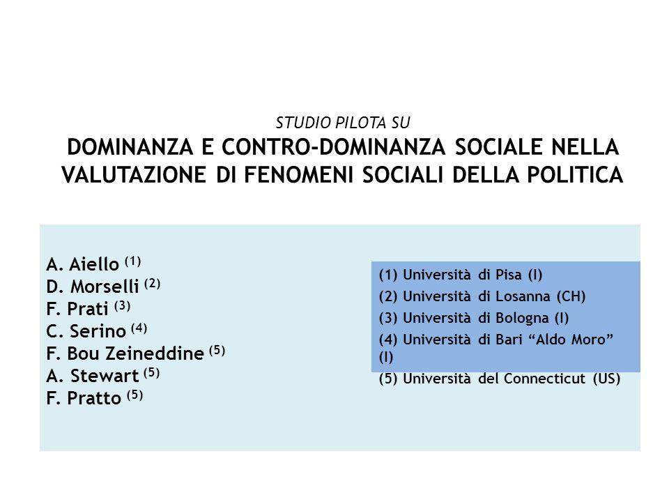 A. Aiello (1) D. Morselli (2) F. Prati (3) C. Serino (4) F. Bou Zeineddine (5) A. Stewart (5) F. Pratto (5) (1) Università di Pisa (I) (2) Università