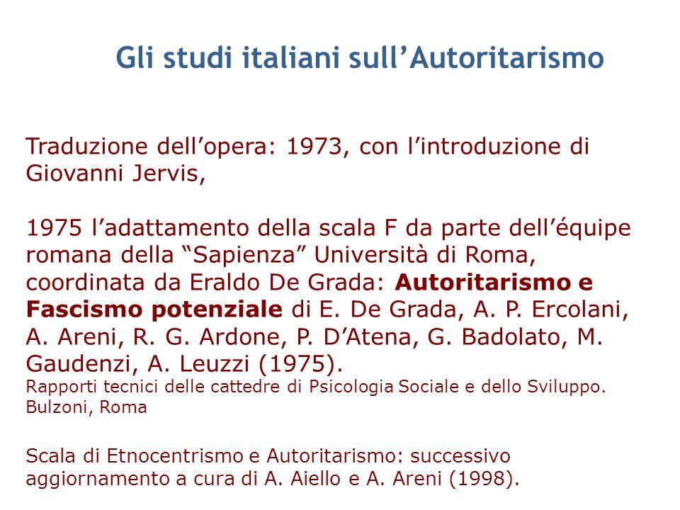 Gli studi italiani sullAutoritarismo Traduzione dellopera: 1973, con lintroduzione di Giovanni Jervis, 1975 ladattamento della scala F da parte delléq