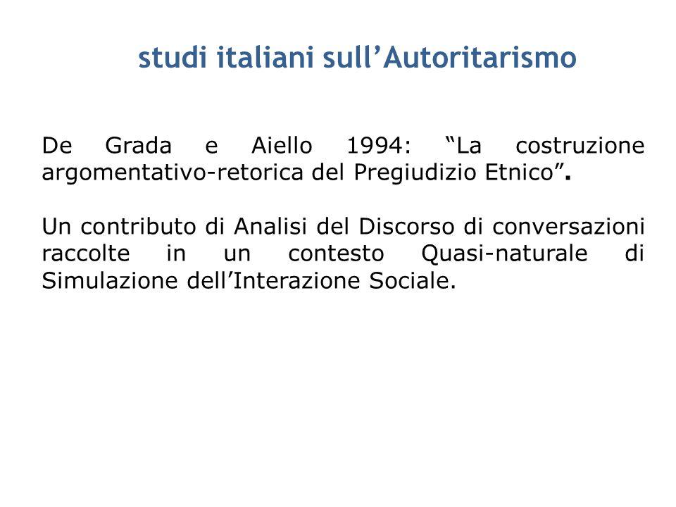 studi italiani sullAutoritarismo De Grada e Aiello 1994: La costruzione argomentativo-retorica del Pregiudizio Etnico. Un contributo di Analisi del Di
