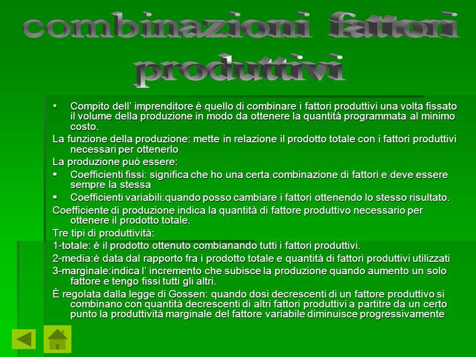 Compito dell imprenditore è quello di combinare i fattori produttivi una volta fissato il volume della produzione in modo da ottenere la quantità prog