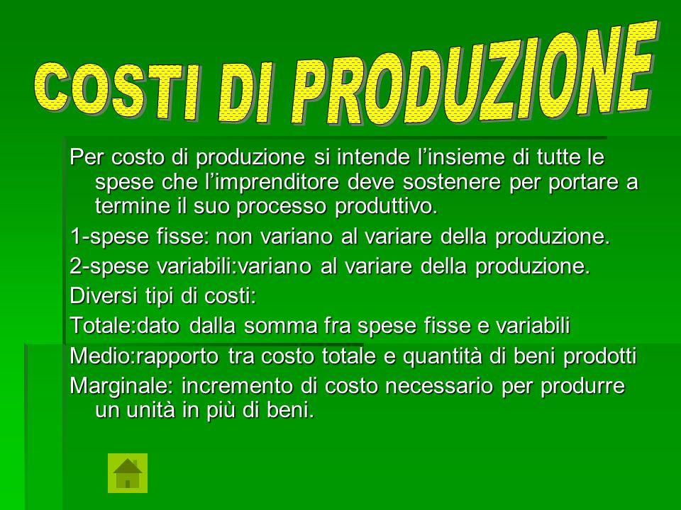 Per costo di produzione si intende linsieme di tutte le spese che limprenditore deve sostenere per portare a termine il suo processo produttivo. 1-spe