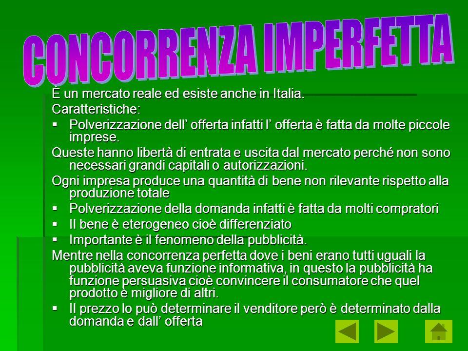 È un mercato reale ed esiste anche in Italia. Caratteristiche: Polverizzazione dell offerta infatti l offerta è fatta da molte piccole imprese. Polver