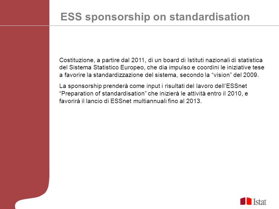 ESS sponsorship on standardisation Costituzione, a partire dal 2011, di un board di Istituti nazionali di statistica del Sistema Statistico Europeo, che dia impulso e coordini le iniziative tese a favorire la standardizzazione del sistema, secondo la vision del 2009.