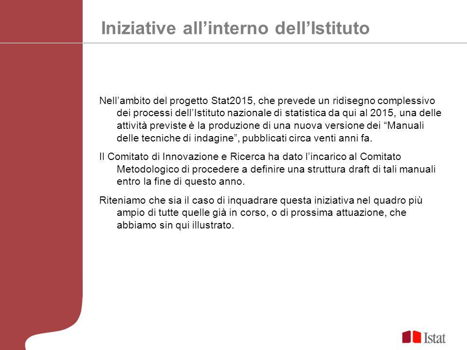 Iniziative allinterno dellIstituto Nellambito del progetto Stat2015, che prevede un ridisegno complessivo dei processi dellIstituto nazionale di stati