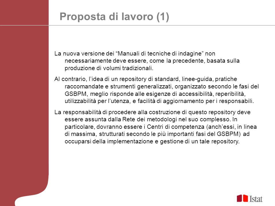 Proposta di lavoro (1) La nuova versione dei Manuali di tecniche di indagine non necessariamente deve essere, come la precedente, basata sulla produzi