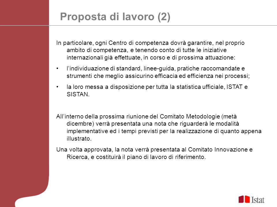 Proposta di lavoro (2) In particolare, ogni Centro di competenza dovrà garantire, nel proprio ambito di competenza, e tenendo conto di tutte le inizia