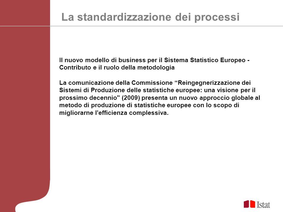La standardizzazione dei processi Il nuovo modello di business per il Sistema Statistico Europeo - Contributo e il ruolo della metodologia La comunica