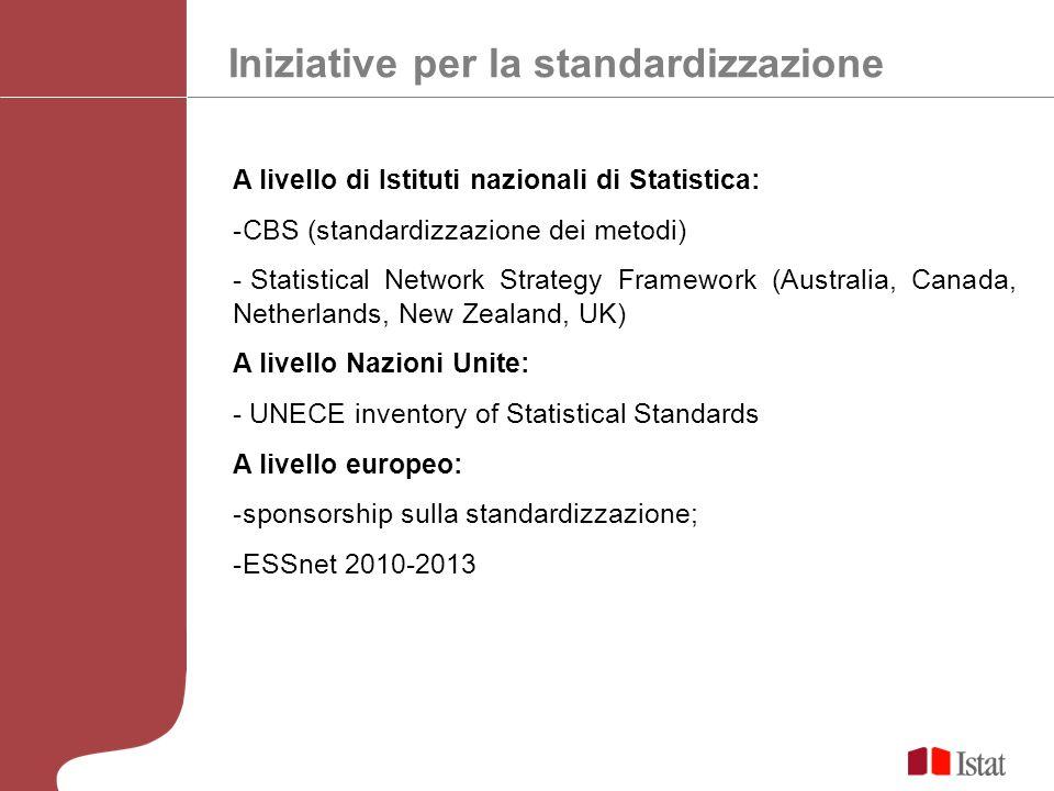 Iniziative per la standardizzazione A livello di Istituti nazionali di Statistica: -CBS (standardizzazione dei metodi) - Statistical Network Strategy Framework (Australia, Canada, Netherlands, New Zealand, UK) A livello Nazioni Unite: - UNECE inventory of Statistical Standards A livello europeo: -sponsorship sulla standardizzazione; -ESSnet 2010-2013