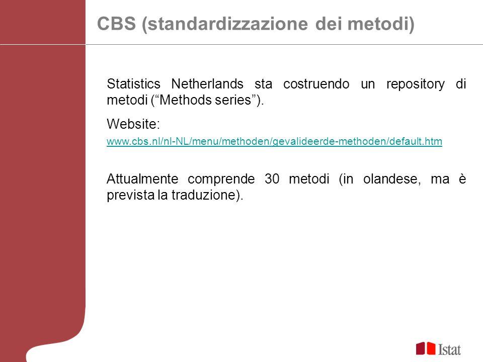 CBS (standardizzazione dei metodi) Statistics Netherlands sta costruendo un repository di metodi (Methods series). Website: www.cbs.nl/nl-NL/menu/meth