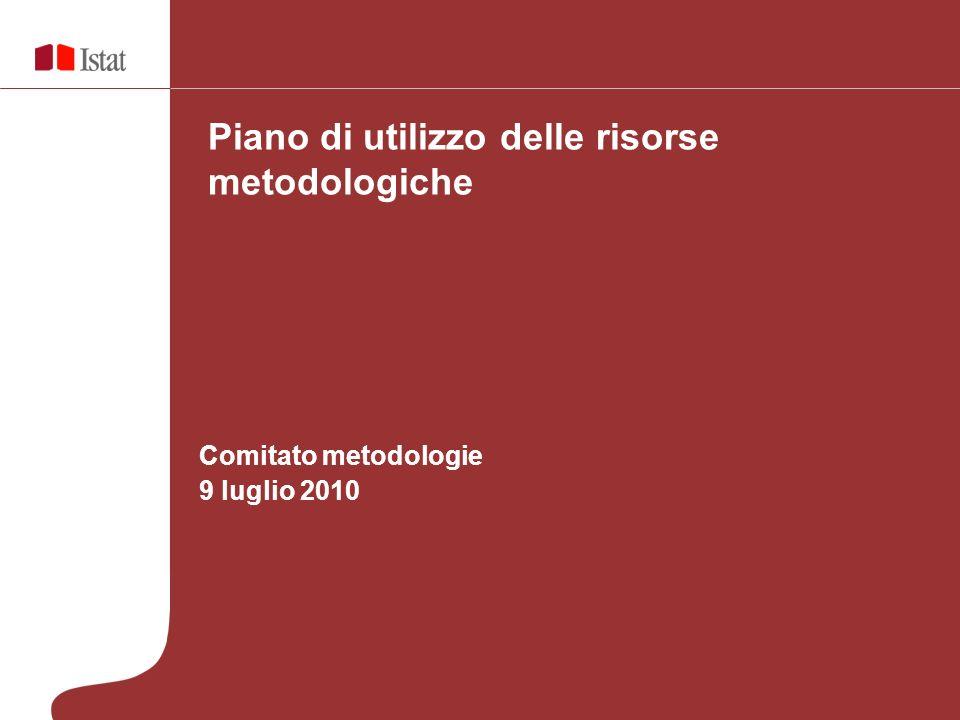 Comitato metodologie 9 luglio 2010 Piano di utilizzo delle risorse metodologiche