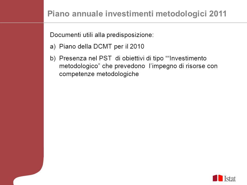 Piano annuale investimenti metodologici 2011 Documenti utili alla predisposizione: a)Piano della DCMT per il 2010 b)Presenza nel PST di obiettivi di tipo Investimento metodologico che prevedono limpegno di risorse con competenze metodologiche