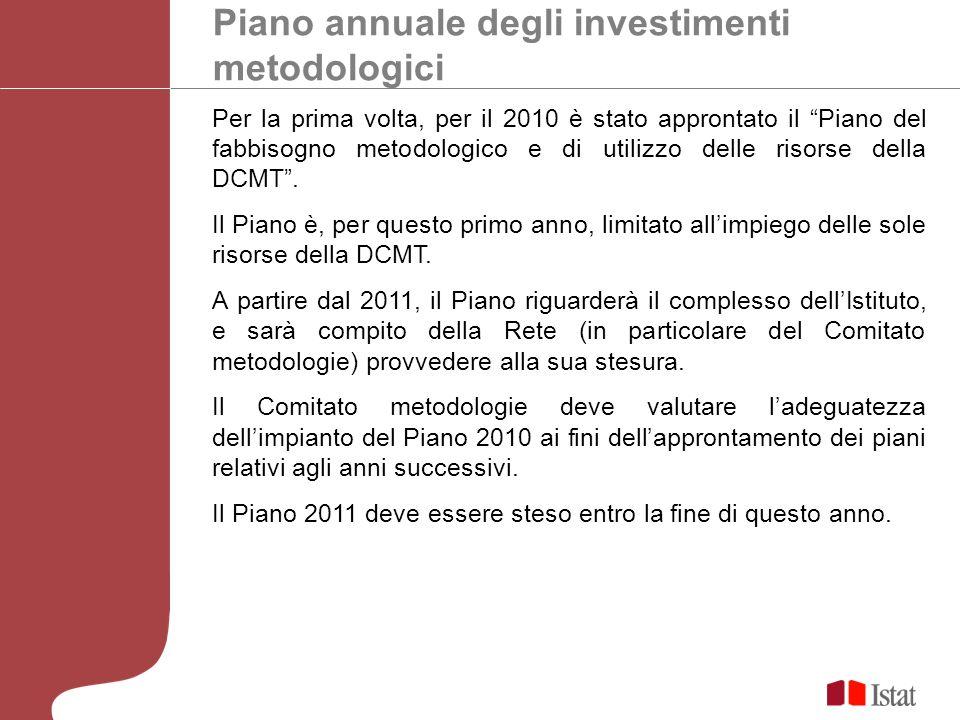 Piano annuale degli investimenti metodologici Per la prima volta, per il 2010 è stato approntato il Piano del fabbisogno metodologico e di utilizzo delle risorse della DCMT.