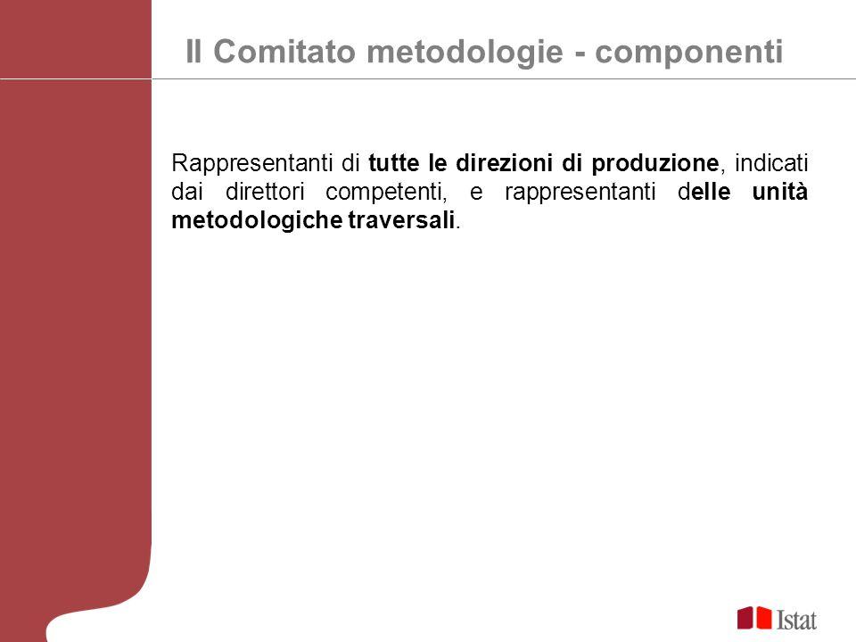 Il Comitato metodologie - componenti Rappresentanti di tutte le direzioni di produzione, indicati dai direttori competenti, e rappresentanti delle unità metodologiche traversali.