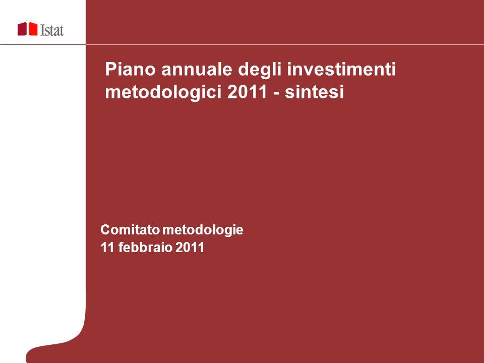Comitato metodologie 11 febbraio 2011 Piano annuale degli investimenti metodologici 2011 - sintesi