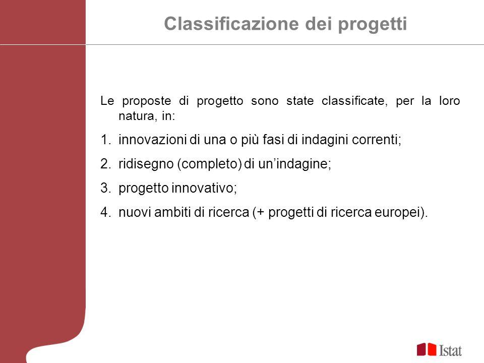 Classificazione dei progetti Le proposte di progetto sono state classificate, per la loro natura, in: 1.innovazioni di una o più fasi di indagini correnti; 2.ridisegno (completo) di unindagine; 3.progetto innovativo; 4.nuovi ambiti di ricerca (+ progetti di ricerca europei).