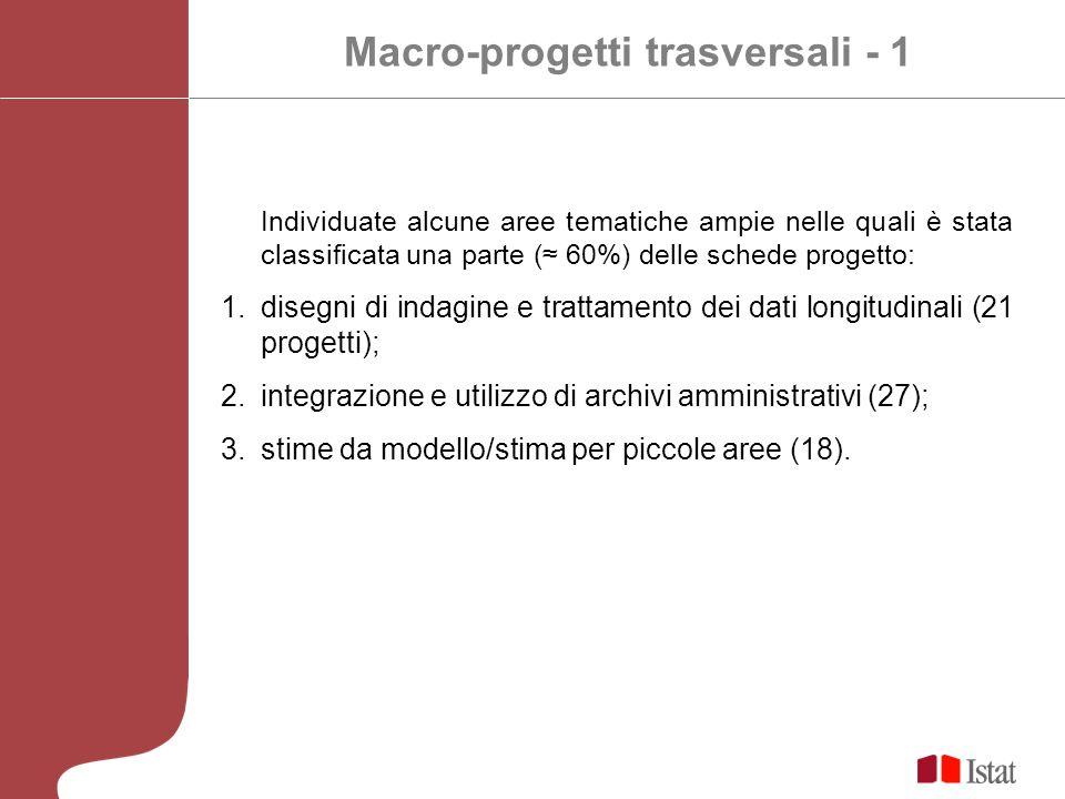 Macro-progetti trasversali - 1 Individuate alcune aree tematiche ampie nelle quali è stata classificata una parte ( 60%) delle schede progetto: 1.disegni di indagine e trattamento dei dati longitudinali (21 progetti); 2.integrazione e utilizzo di archivi amministrativi (27); 3.stime da modello/stima per piccole aree (18).