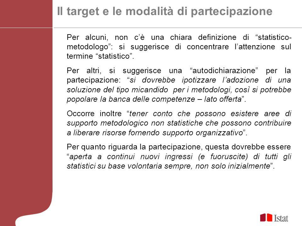 Il target e le modalità di partecipazione Per alcuni, non cè una chiara definizione di statistico- metodologo: si suggerisce di concentrare lattenzione sul termine statistico.